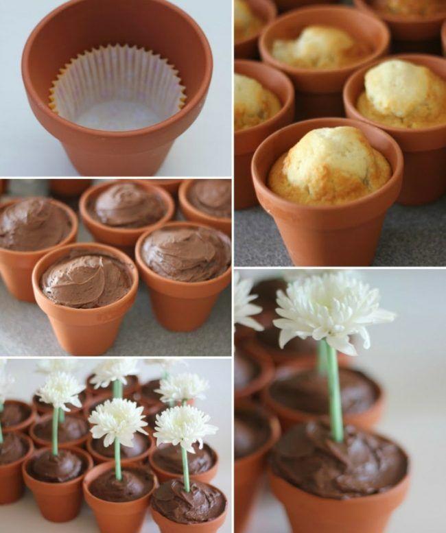 Blumentopf Terracotta Dessert Idee Party Kubel Blumen Strohhalm