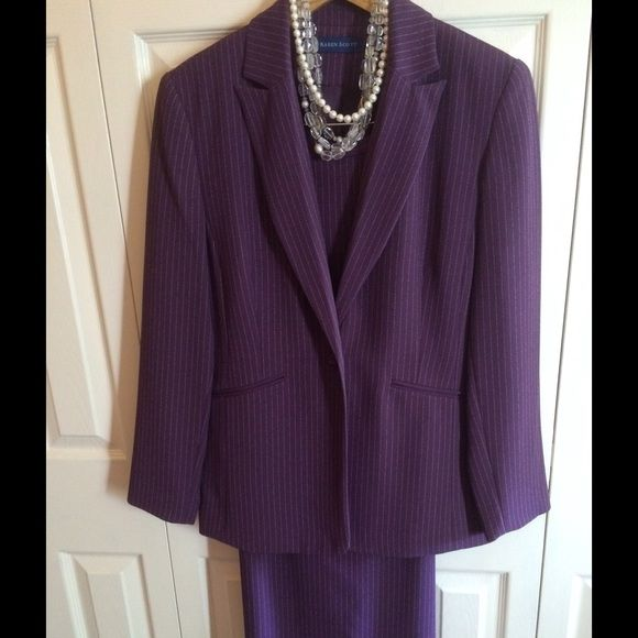 Macy's Karen Scott Skirt Suit Macy's Karen Scott Button-Front Skirt Suit  Button-Front Jacket w/long skirt (ankle length). 99% Polyester, 1% Rayon. Dry Clean.  Necklace not included. Karen Scott Other