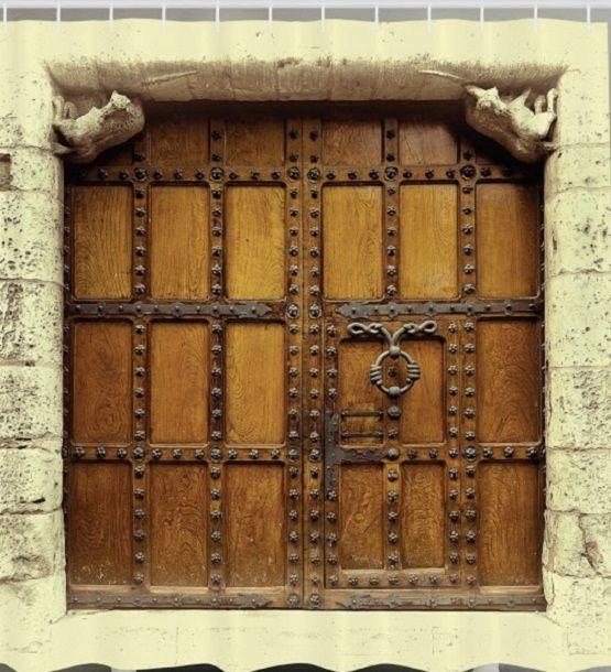 Castle Medieval Gate Fabric SHOWER CURTAIN Church Doors Vintage Entrance Decor Ambesonne Gothic