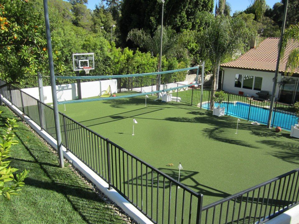 Pool putting green tennis court basketball court now for Sports pool designs