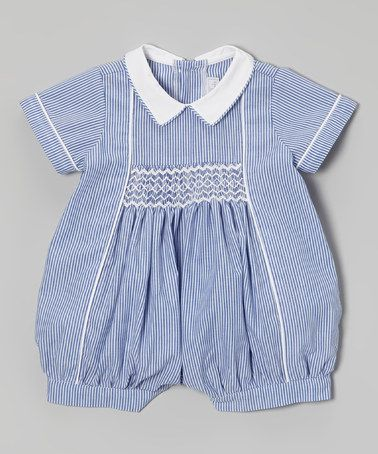 Love This Blue Stripe Smocked Romper Infant On Zulily