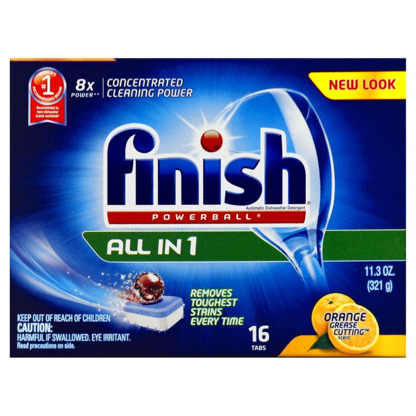 Finish Powerball All In One Dishwasher Detergent Tabs Orange