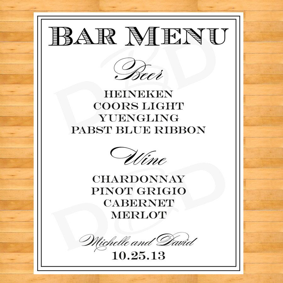 Wedding decorations list  Wedding Drink List Wedding Bar Sign by DigitalBunnysDesigns