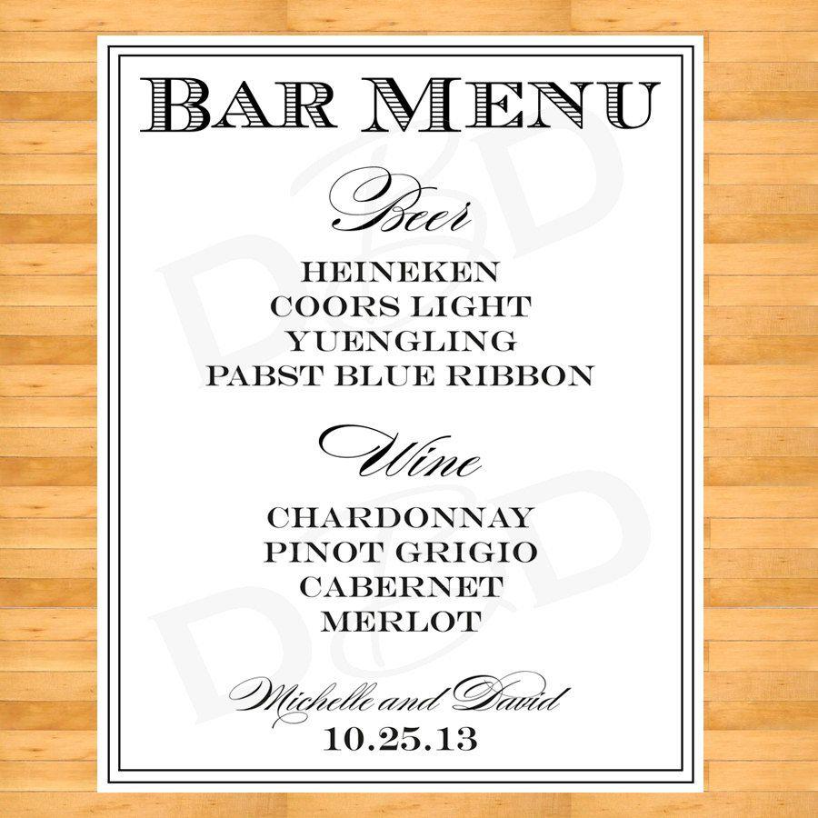 Wedding Drink List Bar Sign By DigitalBunnysDesigns 2000