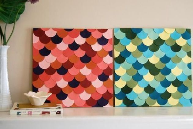 Make some 3d scalloped canvases with paper to spice up that empty desk or wall
