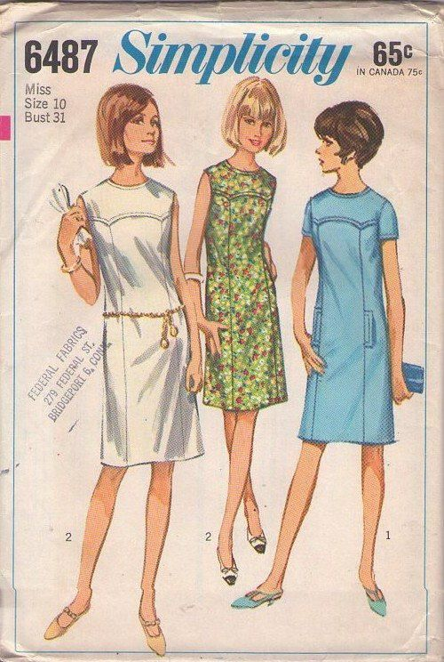 Simplicity 6487 Vintage 60\'s Sewing Pattern FAB Western Pointed ...