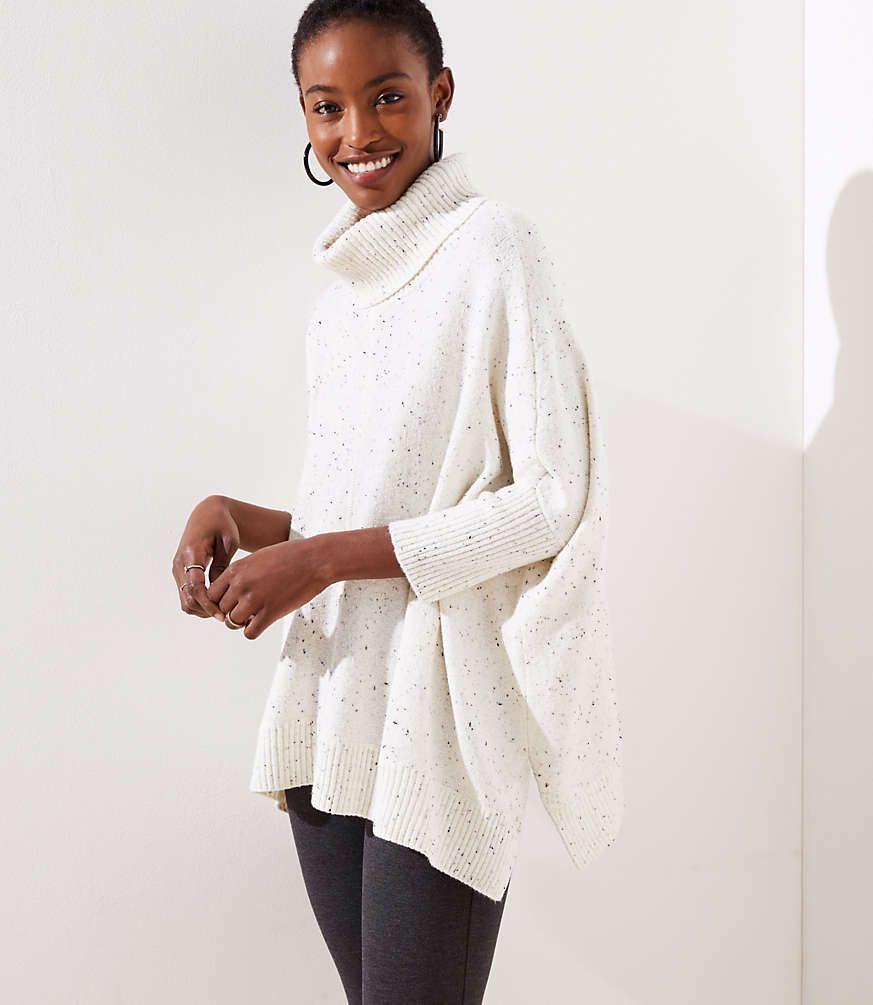 c50c34b47c21 Turtleneck Poncho Sweater