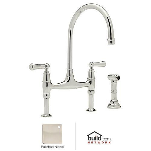 Rohl U.4719L PN 2 Perrin And Rowe Bridge Style Kitchen Faucet With  Sidespray, Polished Nickel
