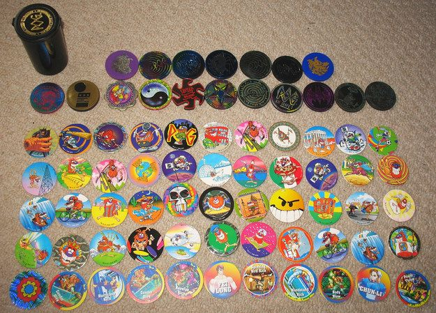 A Pog Collection With Multiple Slammers 90er Kindheit
