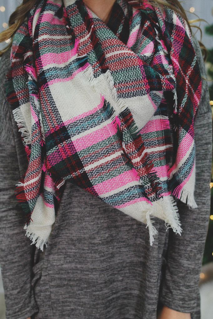 5e39ffe22fccb Hot Pink Tartan Plaid Blanket Scarf | I'd #Wear That! | Plaid ...