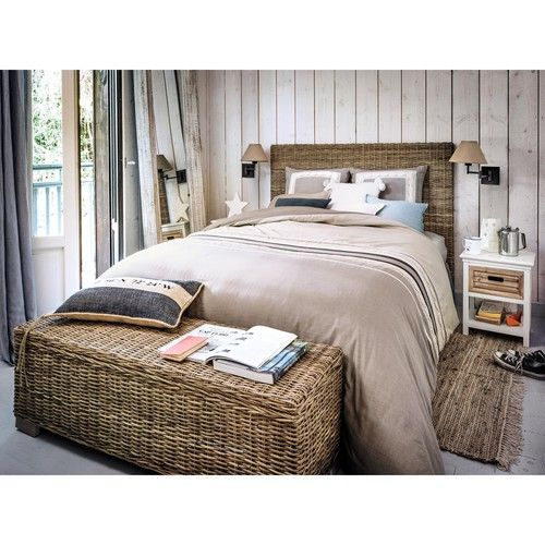 t te de lit en rotin kubu et mahogany massif l 140 cm. Black Bedroom Furniture Sets. Home Design Ideas
