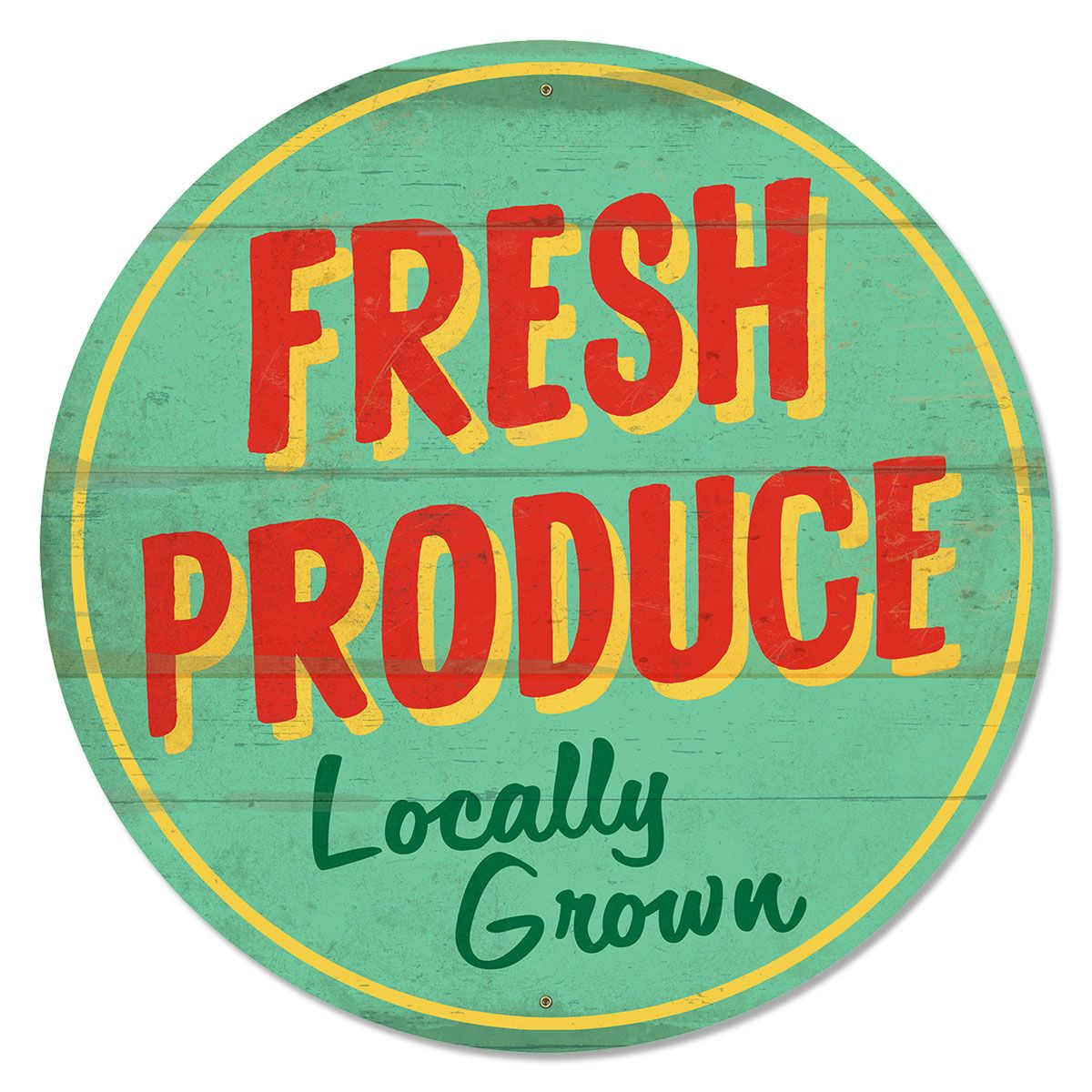 Country Kitchen Logo Fresh Produce Locally Grown Farm Metal Sign 14 In  Farm Stand