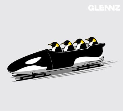 Design available at Glennz Tees #Penguins #Bobsled