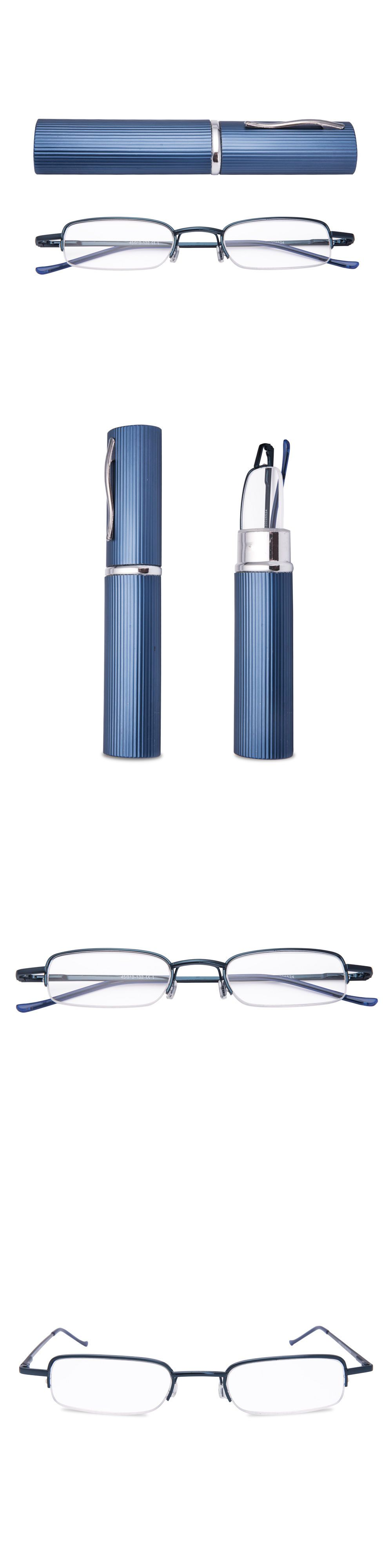 955b3a2425b Reading Glasses 67670  Pen Reading Glasses Metal Frame And Tube Case Mini  Size Slim Readers