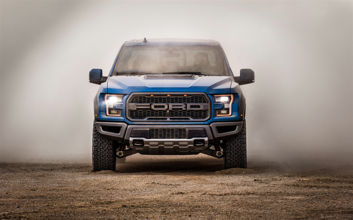 Download Wallpapers 4k Ford F 150 Raptor Front View Offroad 2018 Cars Dust Blue F 150 Raptor Ford Besthqwallpapers Com Ford Raptor Ford F150 Raptor Ford F150