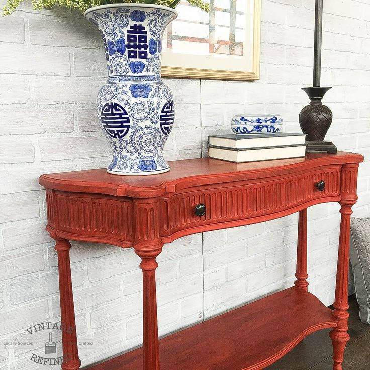 Entryway Table Painted In Annie Sloan Chalk Paint Emperor S Silk Finished With Clear And Dark Wax Painted Furniture Painted Table Chalk Paint Furniture