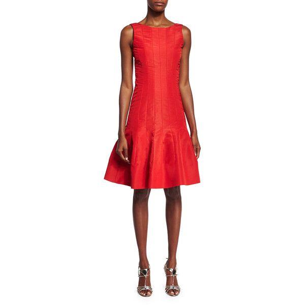 Oscar de la Renta Sleeveless Flounce-Hem Dress (48,805 MXN) ❤ liked on Polyvore featuring dresses, cardinal, fitted dresses, oscar de la renta, fitted cocktail dresses, sleeveless cocktail dress and sleeveless dress