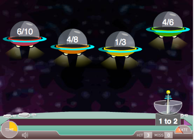 Ratio Blaster In This Free Online Game View A Ratio Example 3 To 6 And Click To Shoot At The Invading Spaceshi Online Math Games Math Fractions Fractions