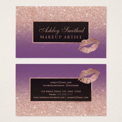 Modern lips rose gold glitter purple ombre makeup business card modern lips rose gold glitter purple ombre makeup business card makeup business cards reheart Gallery