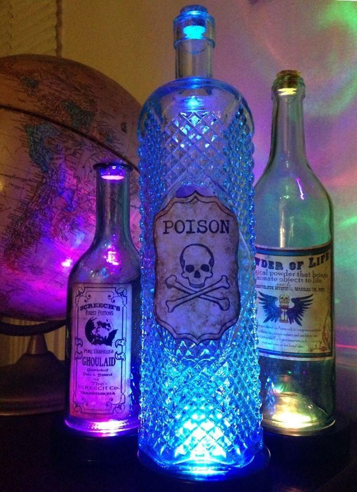 Halloween Party Tip Light Up Bottles For Eerie Mood Lighting Flashingblinkylights Com Blog Halloween Potions Halloween Potion Bottles Easy Diy Halloween Decorations
