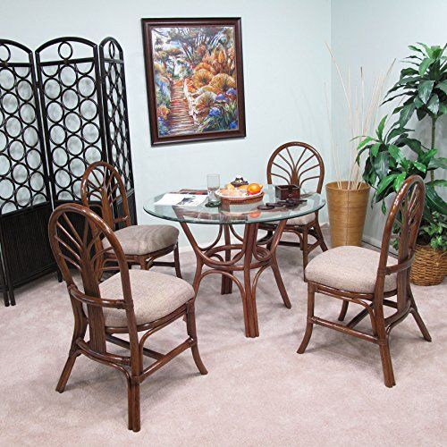 Premium Rattan Dining Furniture Sundance 5pc Set Geneva Flax