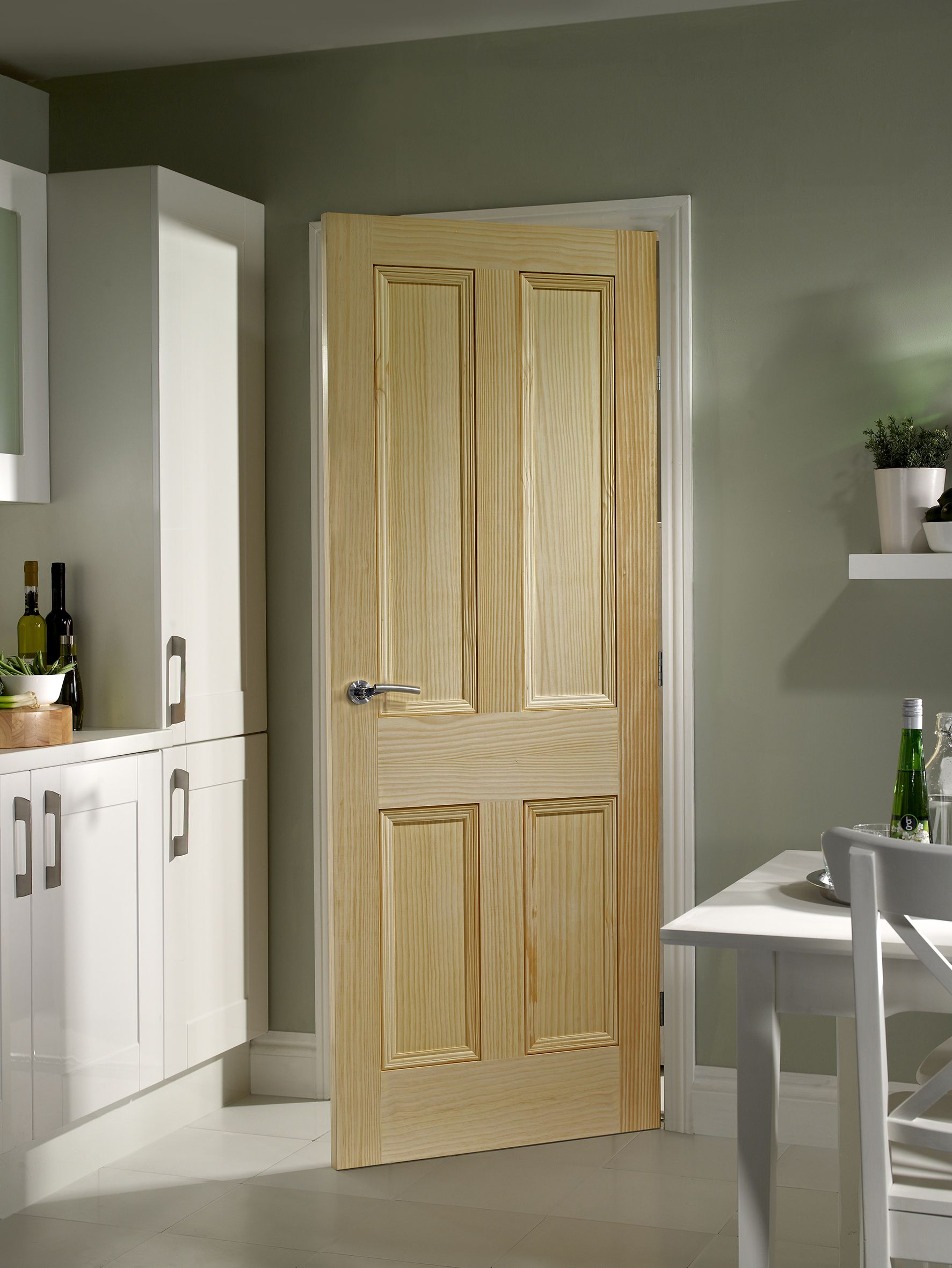 Internal Vertical Grain Pine Door in a traditional 4 panel Victorian style design. Add clear & Internal Vertical Grain Pine Door in a traditional 4 panel Victorian ...