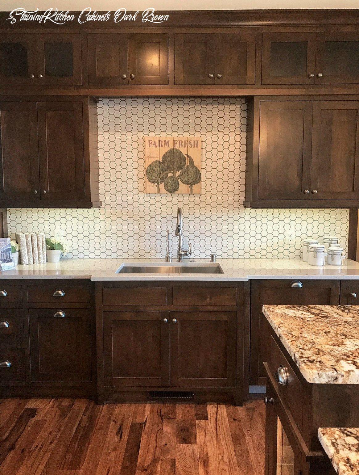 Staining Kitchen Cabinets Dark Brown In 2020 Dark Wood Kitchen Cabinets Backsplash With Dark Cabinets Brown Cabinets