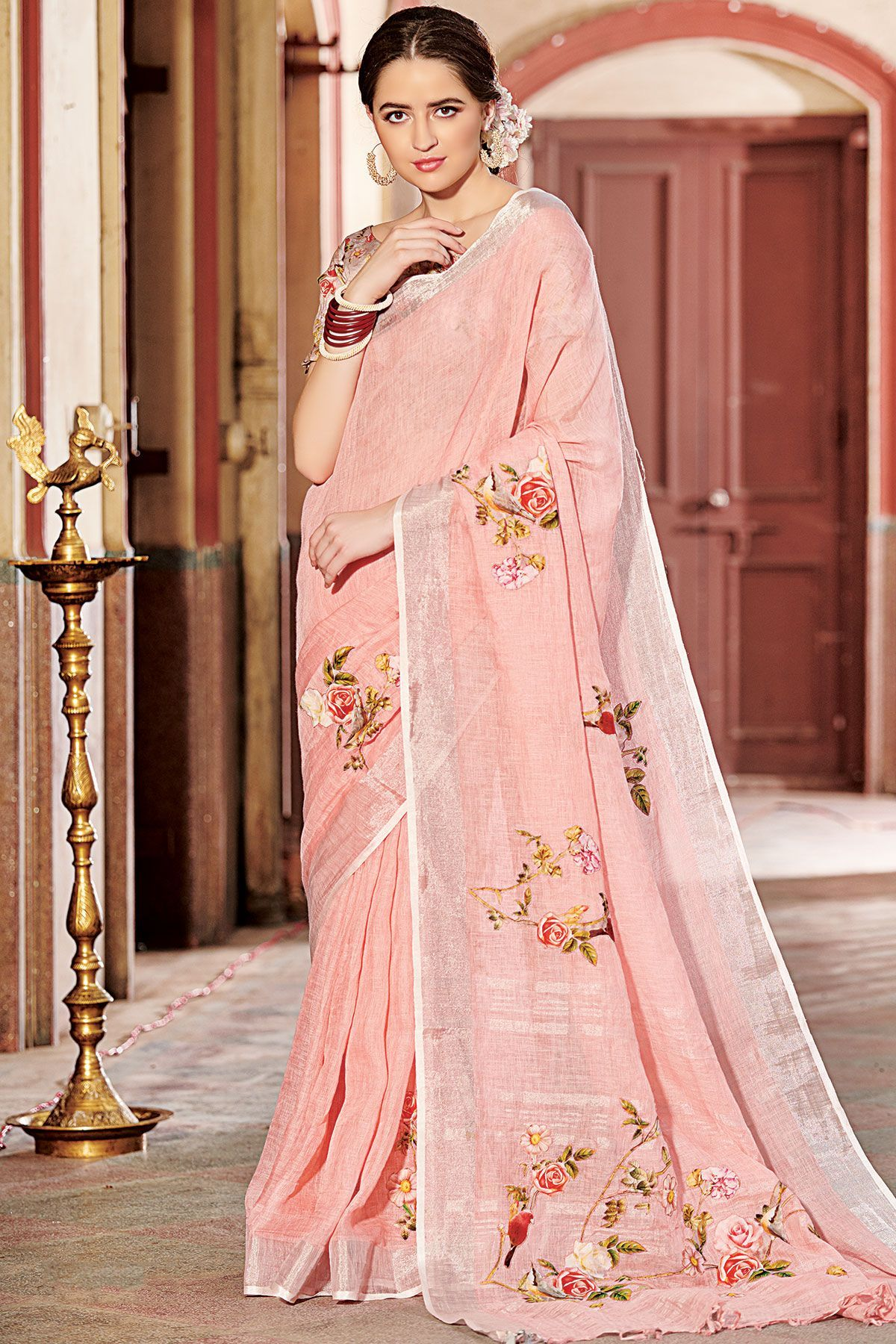 859774d19d Buy online shopping sarees at -Fiji. Buy Blush Pink Applique Embroidered  Linen Saree Online