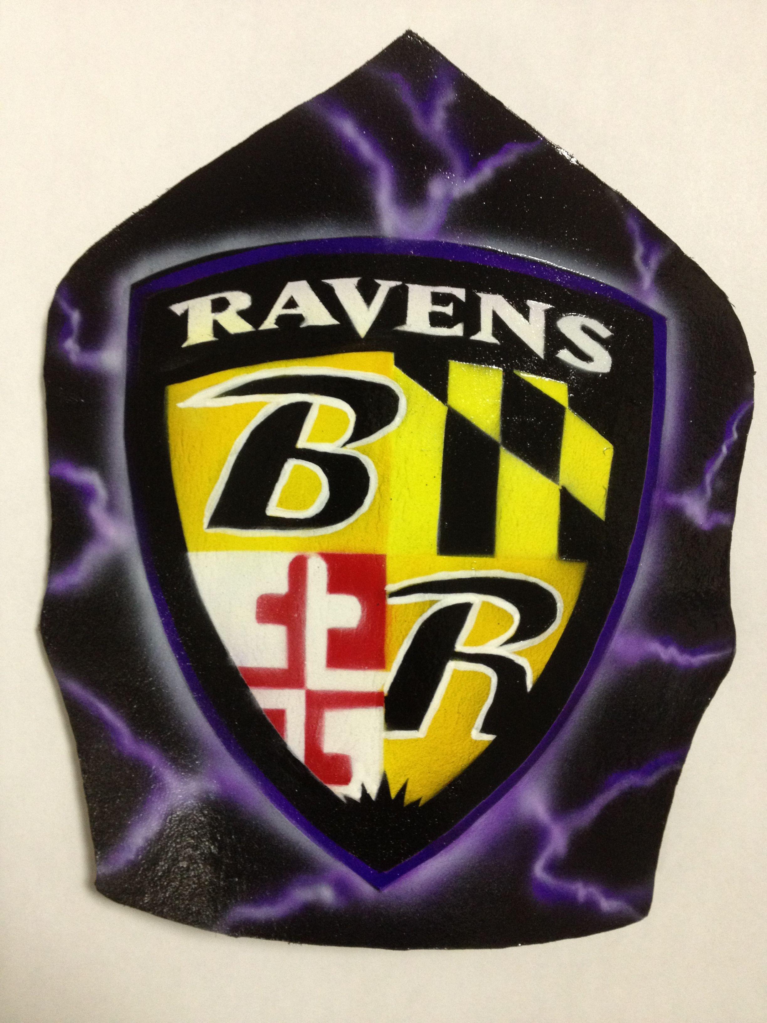 Custom airbrushed Baltimore Ravens fire helmet front shield ...