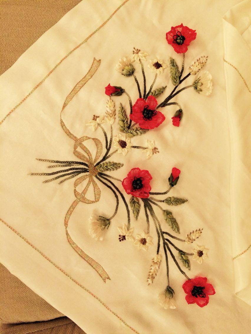 Kurdele nakışı cvece od papira pinterest embroidery ribbon