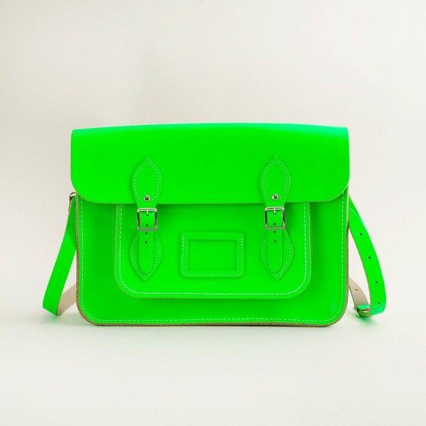 J.Crew The Cambridge Satchel Company® fluorescent satchel ($170) ❤ liked on Polyvore