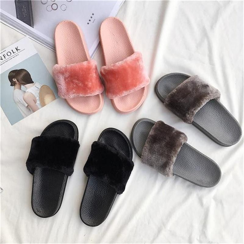 d567d2a85e2 itGirl Shop FAUX FLUFFY FUR RUBBER PINK GRAY BLACK FLAT OPEN SANDALS  Aesthetic Apparel