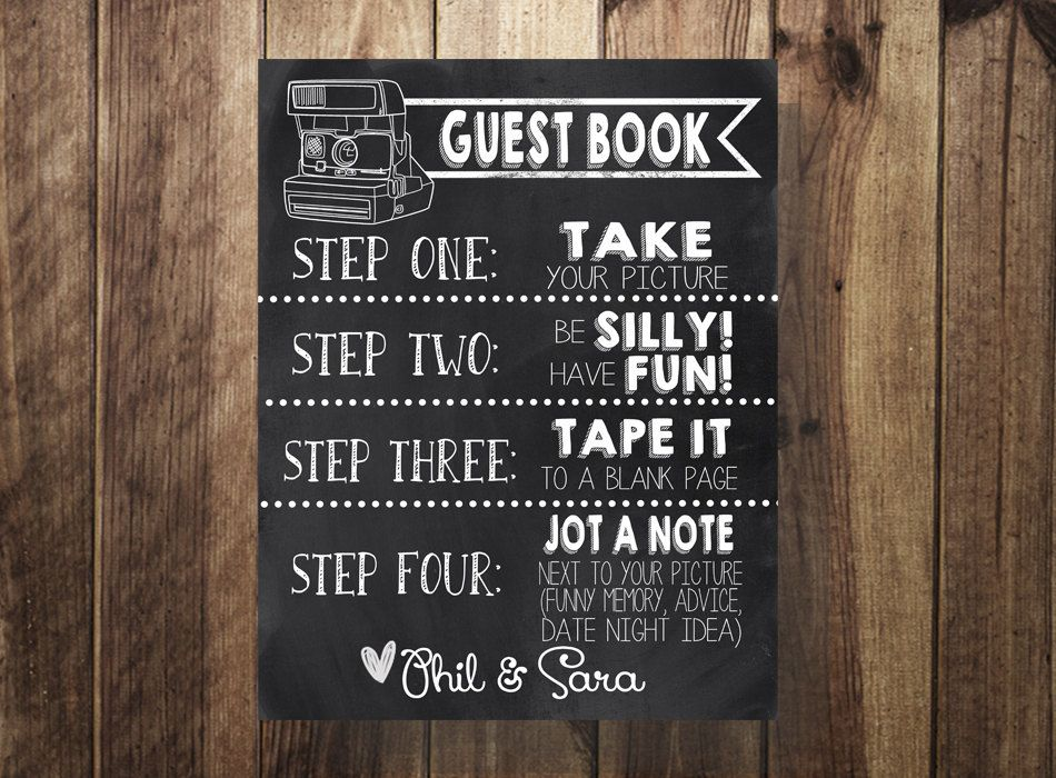guest book instructions printable sign wedding party by