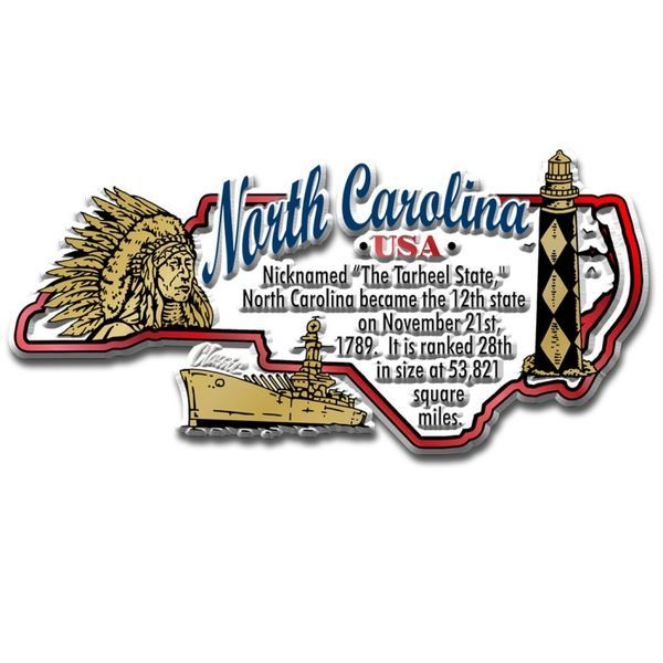 "Our North Carolina Information Map Magnet measures approximately 6 square inches and has a thickness of 0.1"""". This Classic North Carolina Information Map Magnet is perfect for any refrigerator or met"