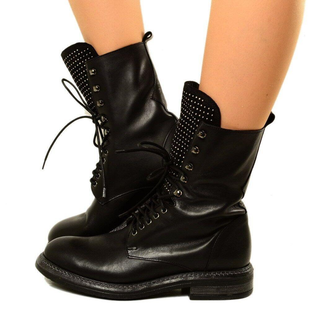 Stivali Biker Boots Primaverili Estivi Traforati Donna Pelle Nabuk Vintage Bikmf