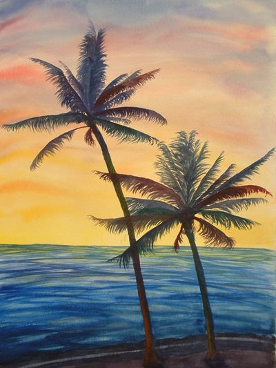 watercolor painting sunsets | is apr water watercolor trees a few more trees…