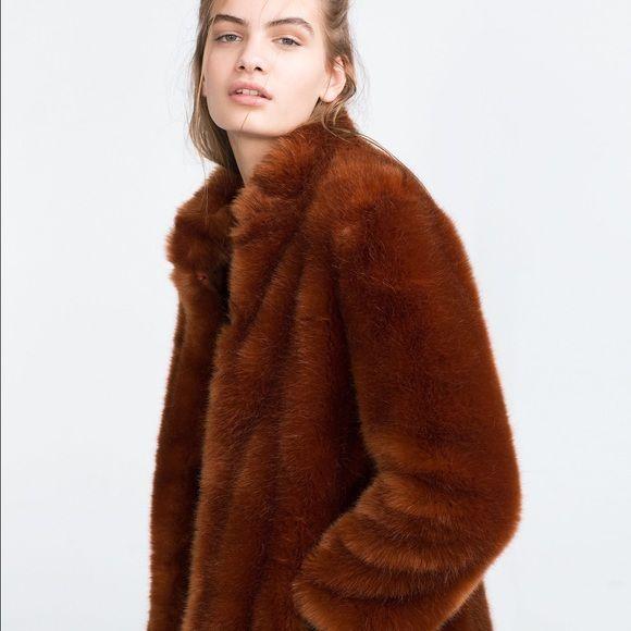 69840d2631b Zara burnt orange faux fur coat Amazing condition Zara faux fur coat. Zara  Jackets   Coats