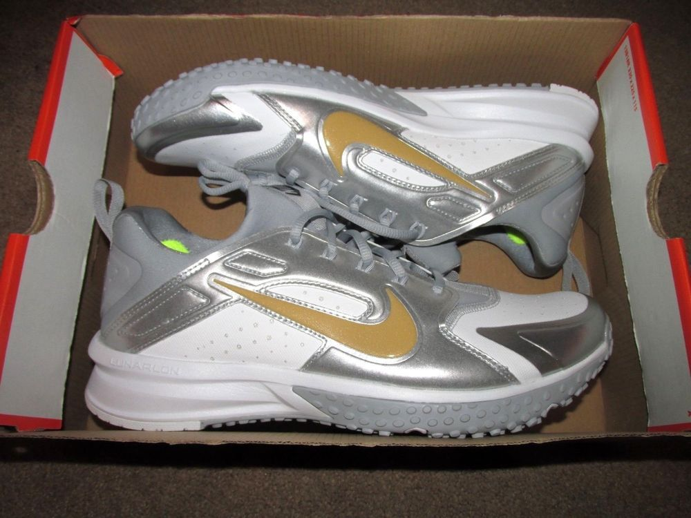 online store 79905 8d97d Nike Alpha Huarache Turf Mens Baseball Cleats 9.5 White Grey Gold 923435  171  Nike  Cleats