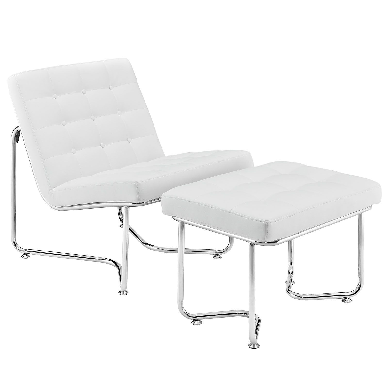 valencia lounge chair ottoman white leather white leather