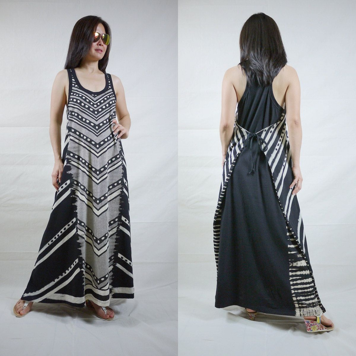 Sleeveless Scoop Neck Wrap Printed Stretch Cotton Maxi