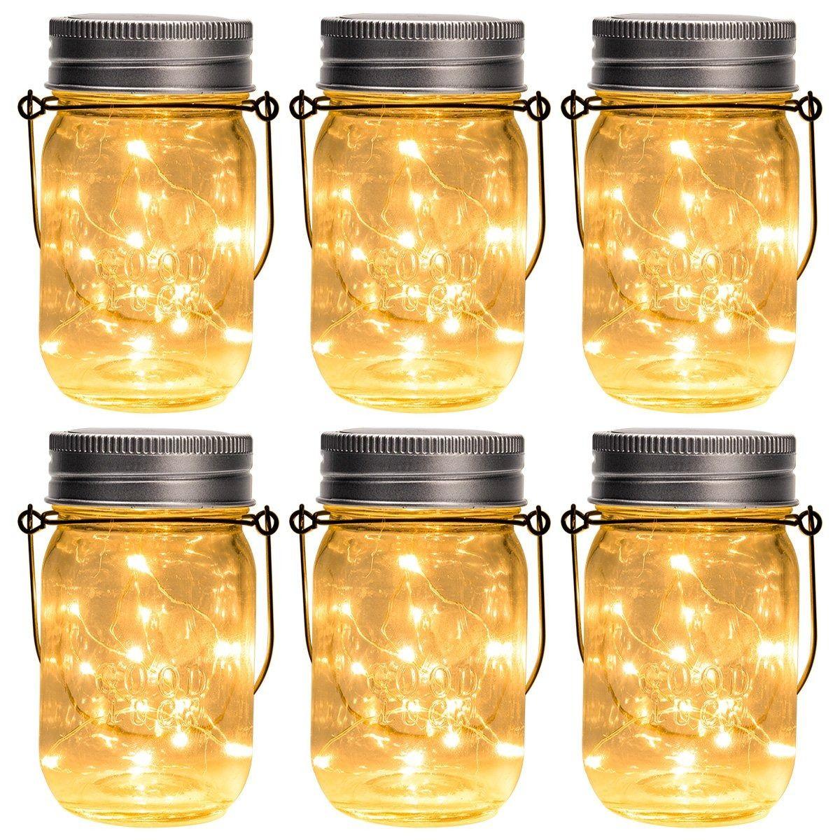 Gartendeko Gigalumi Solar Mason Jar Licht 6 Pack 15 Led Wasserdicht Solar Glas Einmachglas Warmweiss Garten Hangeleuch In 2020 Solar Hangelampen Mason Jars Hangeleuchte