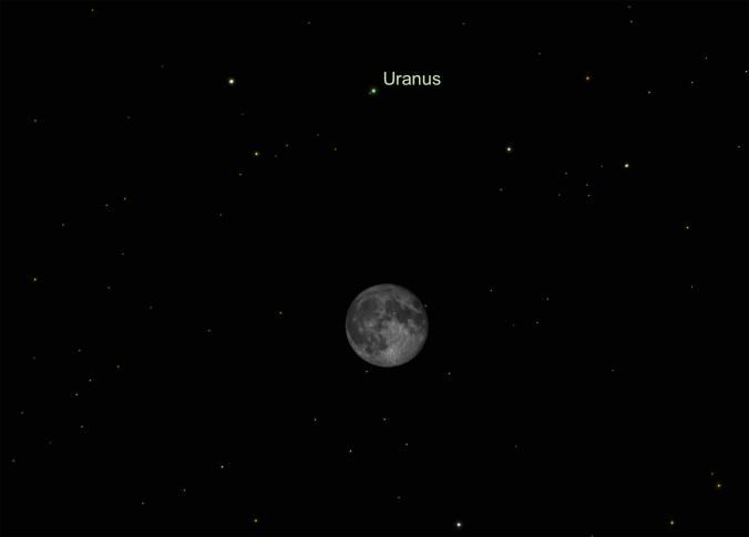 Picture of moon will conveniently point the way to Uranus on Monday