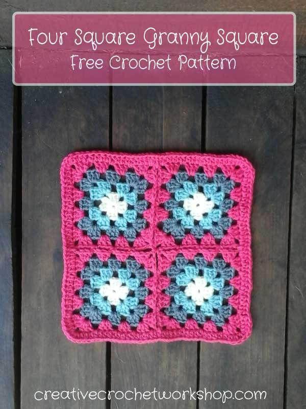 Four Square Granny Square - Free Crochet Pattern | Creative Crochet ...