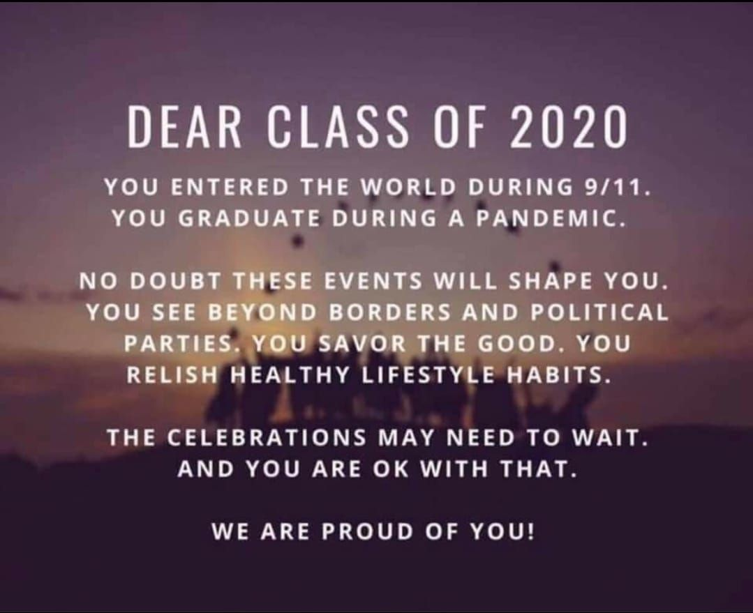 Dear Class Of 2020 Class Of 2020 Senior Quotes Senior Year Quotes