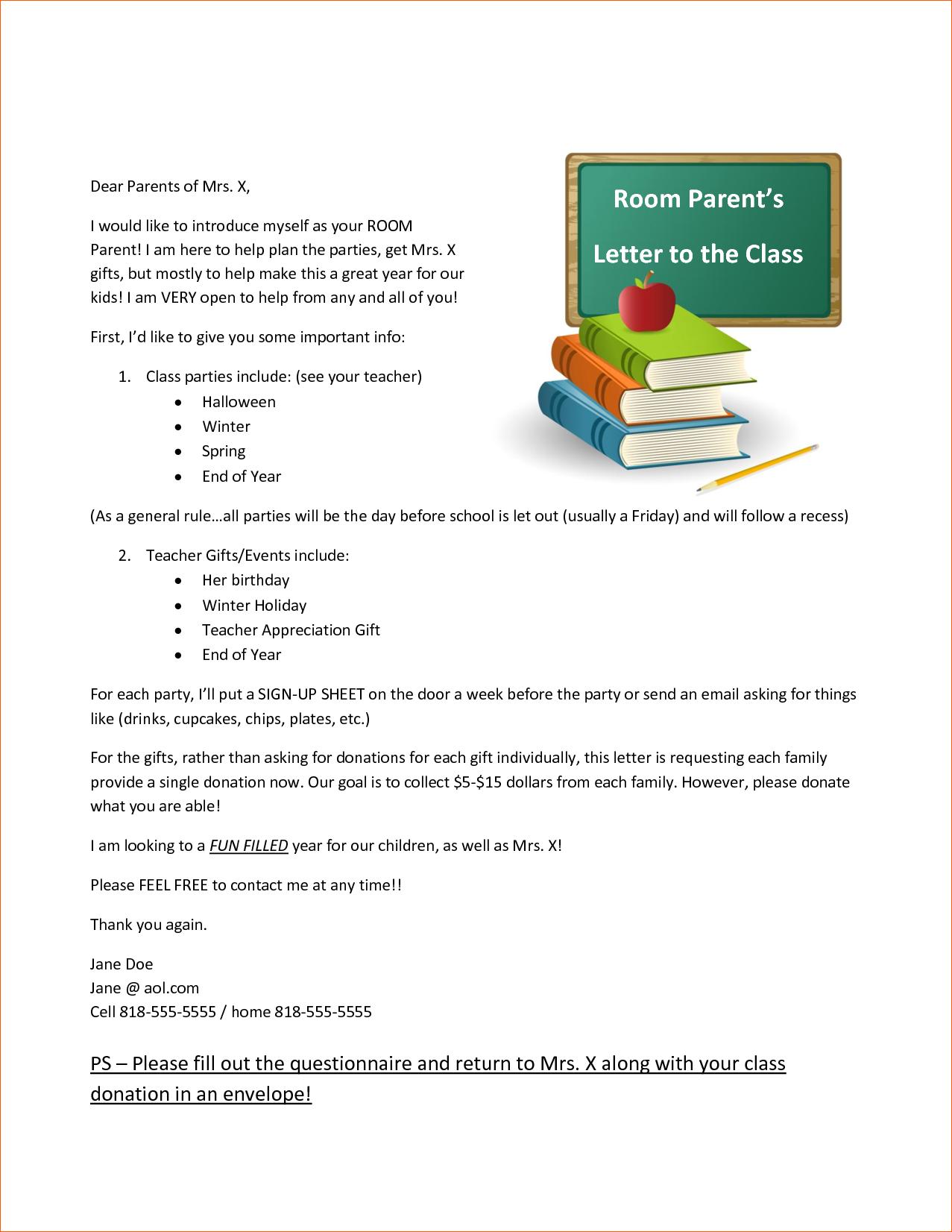 Room Parent Letter - Westlake Elementary School by