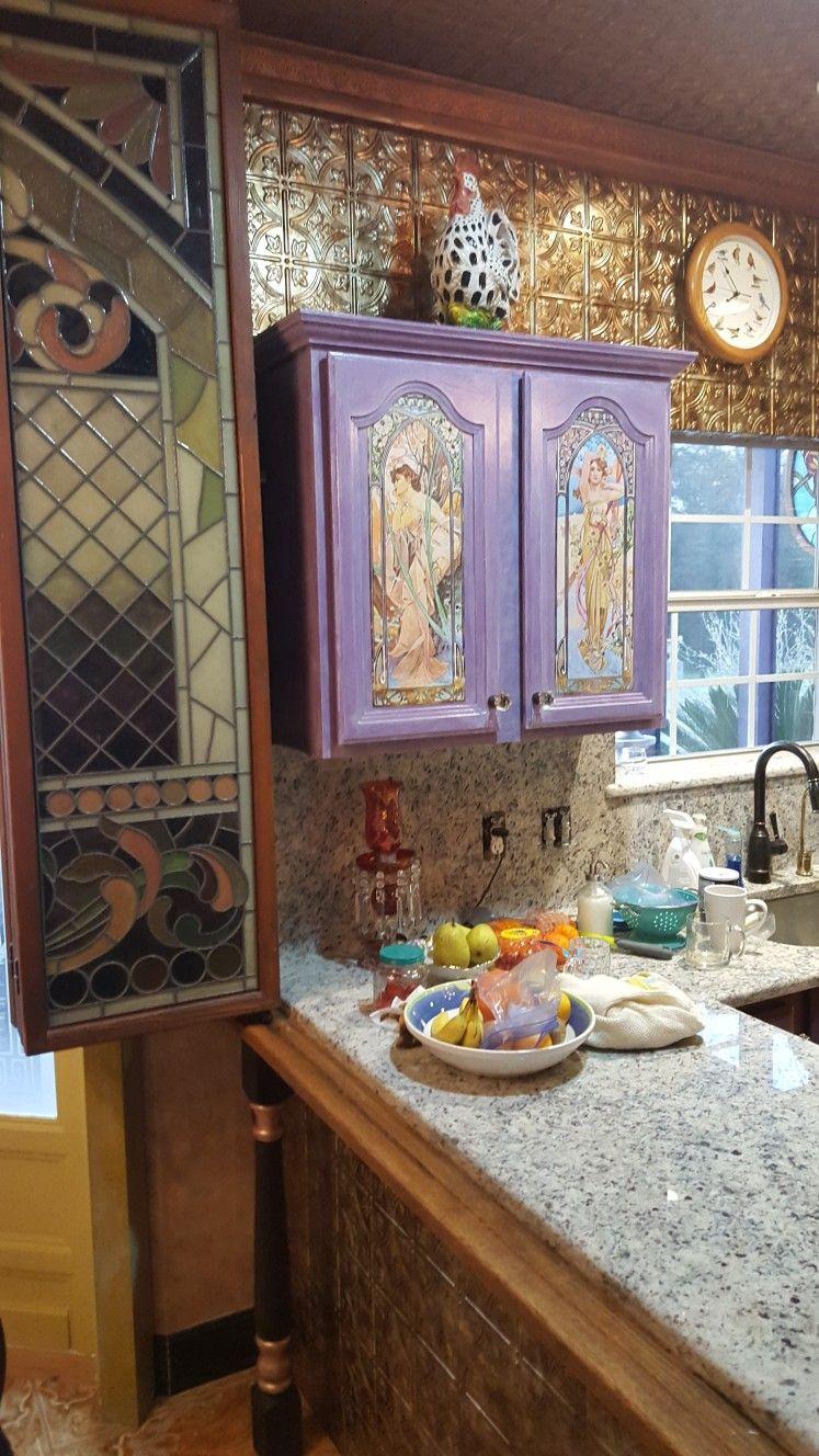 Purple Decoupage Kitchen | Kitchen cabinets, Kitchen, Vanity