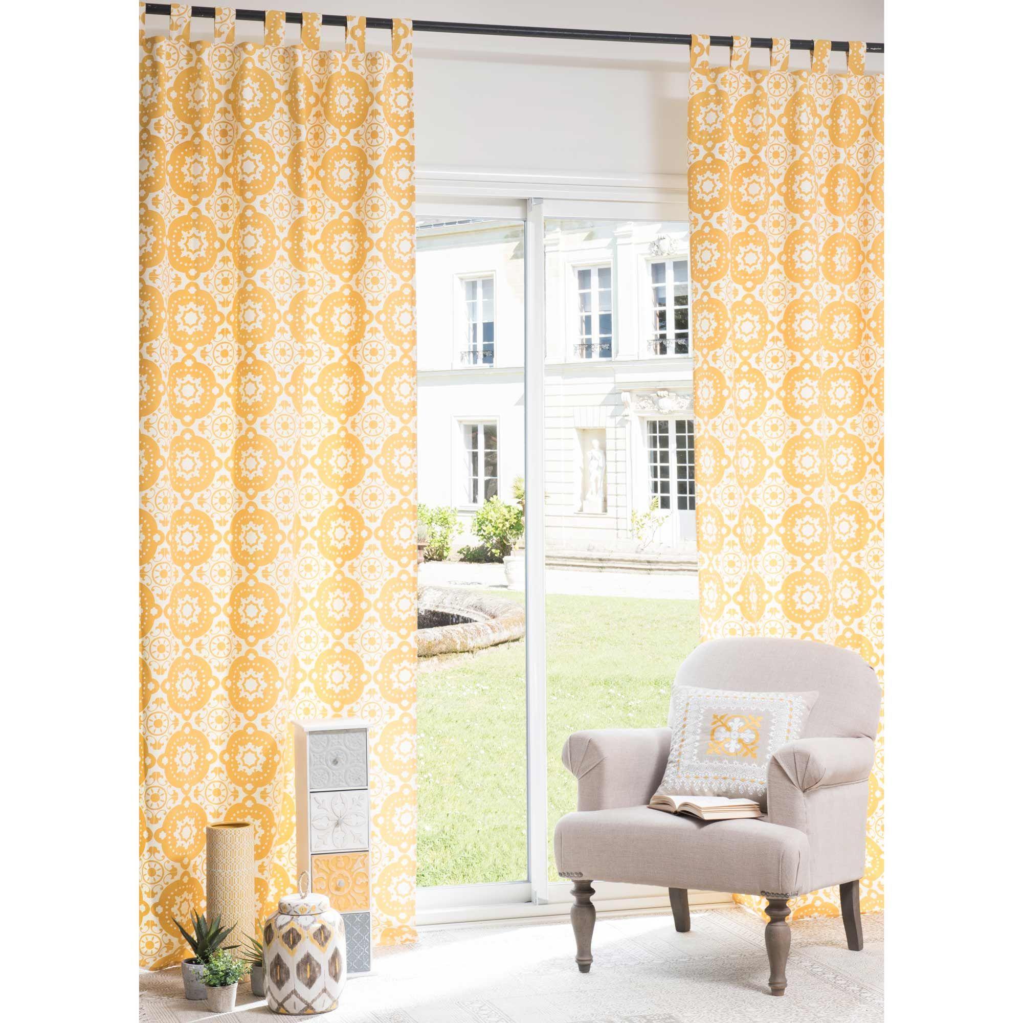 rideau illets en coton jaune 105 x 250 cm belem maisons du monde exotique pinterest. Black Bedroom Furniture Sets. Home Design Ideas