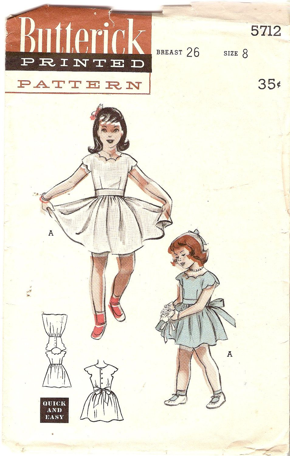 1950s Girls Dress Party Dress Scallop Neckline and Sleeves Flower Girl Dress Butterick 5712 size 8 Vintage Sewing Pattern. $15.00, via Etsy.