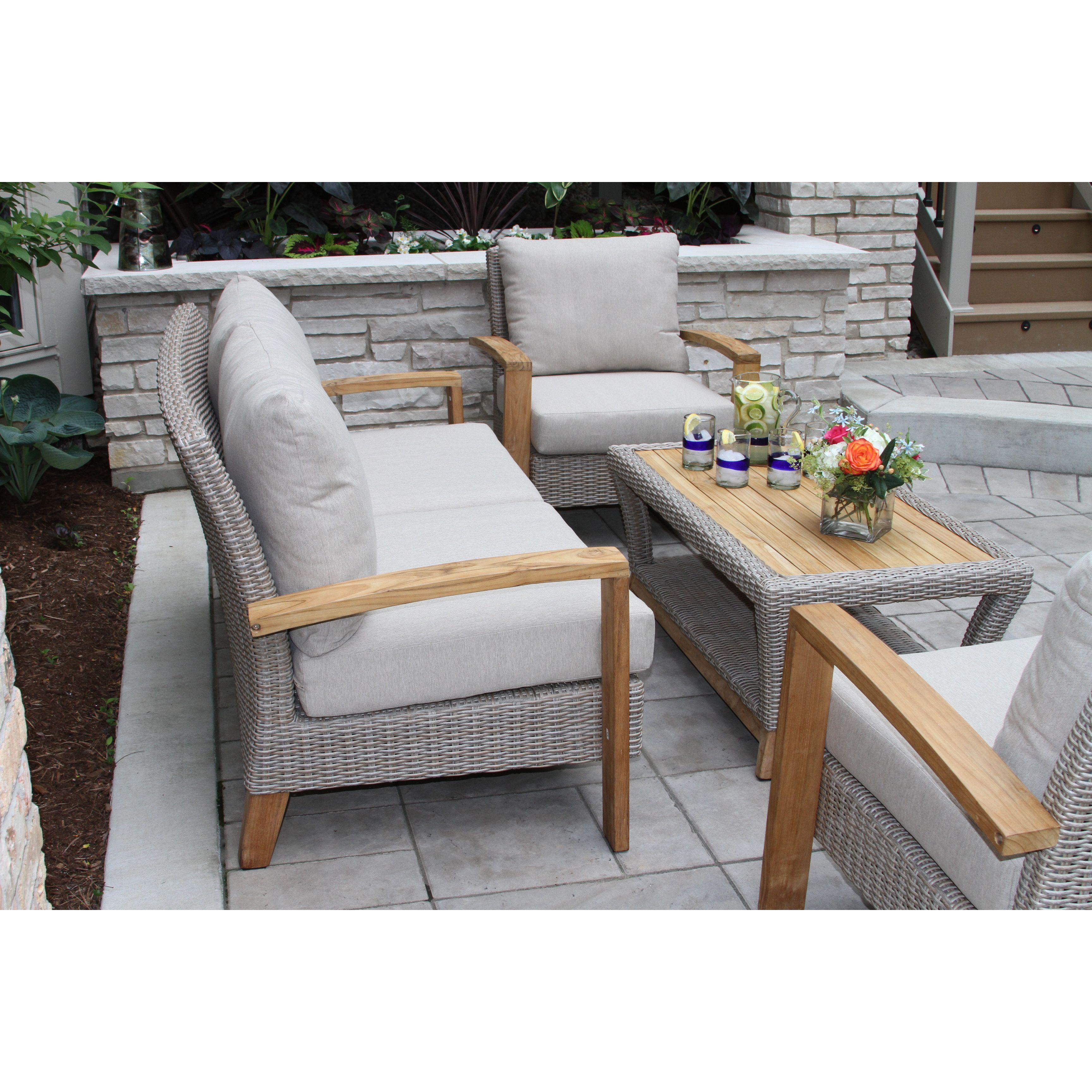 Laurel Foundry Modern Farmhouse Dillard Teak And Wicker 4 Piece Deep Seating Group With Cushion