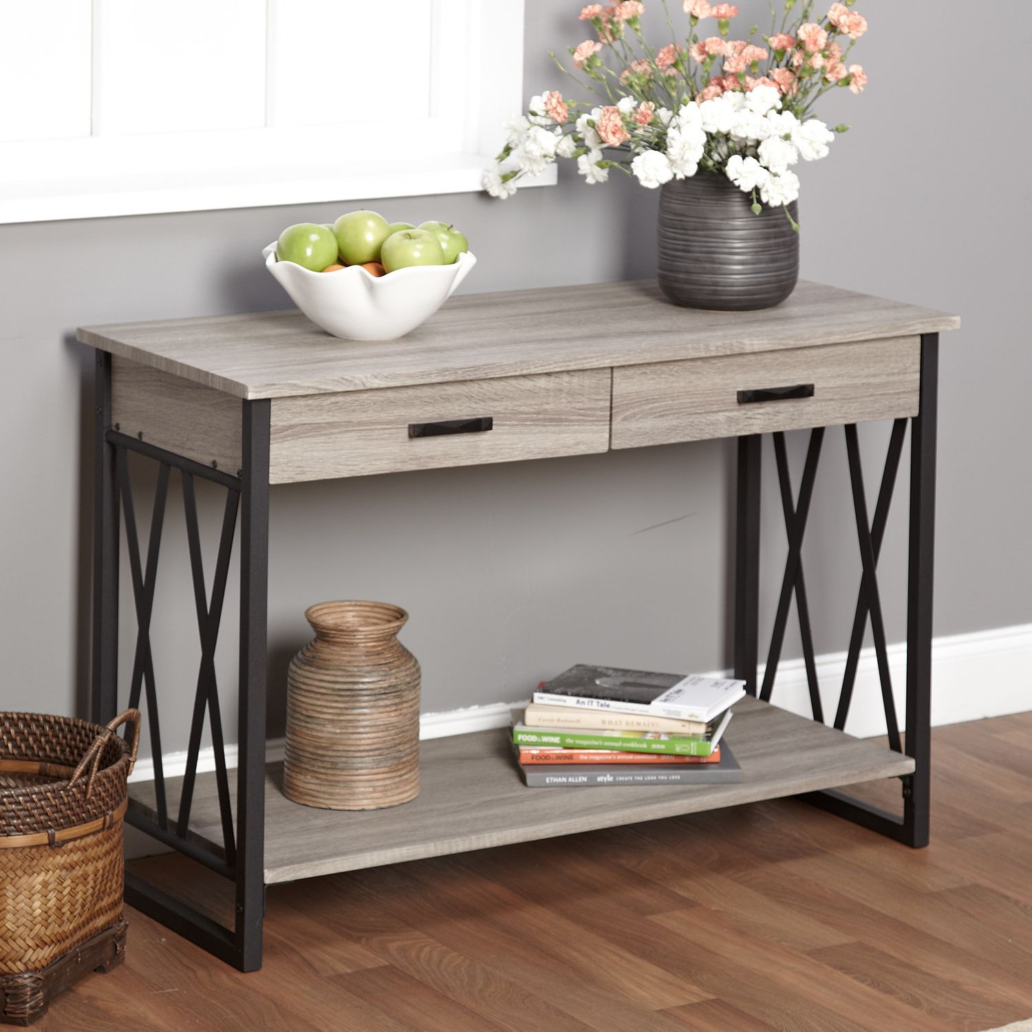Designed with a reclaimed grey finish seneca xx features black x simple living seneca xx black grey reclaimed wood sofa table overstock shopping great deals on simple living coffee sofa end tables geotapseo Images
